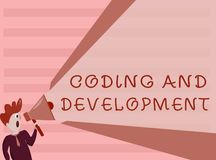 Conceptual hand writing showing Coding And Development. Business photo showcasing Programming Building simple assembly Programs