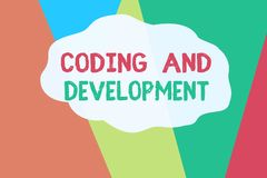 Conceptual hand writing showing Coding And Development. Business photo text Programming Building simple assembly