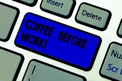 Conceptual hand writing showing Coffee Before Work. Business photo text take hot drink made from roasted and ground bean. Keyboard key Intention to create royalty free stock photography