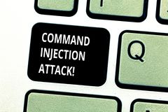Conceptual hand writing showing Comanalysisd Injection Attack. Business photo showcasing execution of arbitrary. Comanalysisds on the host OS Keyboard key stock photo