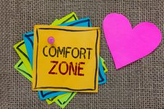 Conceptual hand writing showing Comfort Zone. Business photo text A situation where one feels safe or at ease have Control Paper n. Otes Important reminders stock image