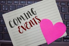 Conceptual hand writing showing Coming Events. Business photo showcasing Happening soon Forthcoming Planned meet Upcoming In the F. Uture Notebook paper keyboard royalty free stock photos