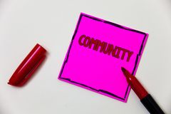 Conceptual hand writing showing Community. Business photo showcasing Neighborhood Association State Affiliation Alliance Unity Gro. Up Pink note open marker Stock Image