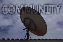 Conceptual hand writing showing Community. Business photo text Neighborhood Association State Affiliation Alliance Unity Group Ide. As messages television Royalty Free Stock Photos