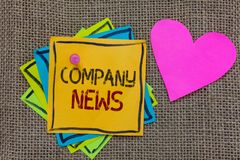 Conceptual hand writing showing Company News. Business photo text Latest Information and happening on a business Corporate Report. Paper notes Important stock photo