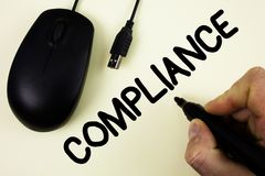 Conceptual hand writing showing Compliance. Business photo showcasing Technology Company sets its policy standard regulations writ stock photography