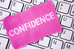Conceptual hand writing showing Confidence. Business photo showcasing Never ever doubting your worth, inspire and transform yourse. Lf written Tear Sticky note stock image