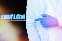 Conceptual hand writing showing Congratulations. Business photo showcasing a congratulatory expression usually used in