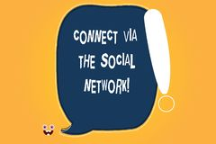 Conceptual hand writing showing Connect Via The Social Network. Business photo text Online communications networking. Advance Blank Color Speech Bubble Outlined royalty free illustration