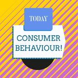 Conceptual hand writing showing Consumer Behaviour. Business photo showcasing Decisions that showing make to buy or not. Conceptual hand writing showing Consumer vector illustration