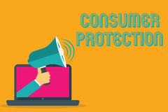 Conceptual hand writing showing Consumer Protection. Business photo text Fair Trade Laws to ensure Consumers Rights. Protection vector illustration