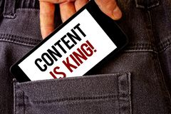 Conceptual hand writing showing Content Is King Motivational Call. Business photo showcasing Marketing Information Advertising Str royalty free stock photo