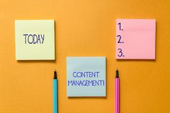 Conceptual hand writing showing Content Management. Business photo showcasing Process that collects analysisage and. Conceptual hand writing showing Content stock photography