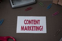 Conceptual hand writing showing Content Marketing. Business photo showcasing Involves the creation and sharing of online. Conceptual hand writing showing Content royalty free stock images