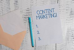 Conceptual hand writing showing Content Marketing. Business photo showcasing Involves the creation and sharing of online. Conceptual hand writing showing Content stock image