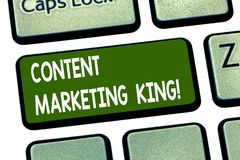 Conceptual hand writing showing Content Marketing King. Business photo showcasing Content is central to the success of a. Website Keyboard key Intention to stock illustration