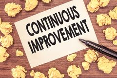 Conceptual hand writing showing Continuous Improvement. Business photo showcasing Ongoing Effort to Advance Never ending changes stock images