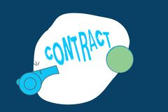 Conceptual hand writing showing Contract. Business photo text written or spoken agreement especially one concerning employment.  stock illustration