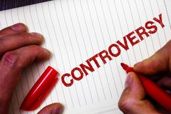 Conceptual hand writing showing Controversy. Business photo showcasing Disagreement or Argument about something important to peopl. E Man hold holding marker Royalty Free Stock Photography