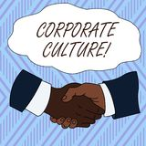 Conceptual hand writing showing Corporate Culture. Business photo showcasing Beliefs and ideas that a company has Shared. Conceptual hand writing showing stock illustration
