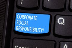 Conceptual hand writing showing Corporate Social Responsibility. Business photo text internal organizational policy or royalty free stock images