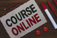 Conceptual hand writing showing Course Online. Business photo showcasing eLearning Electronic Education Distant Study Digital Clas. S White paper red borders stock photo