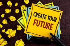 Conceptual hand writing showing Create Your Future. Business photo showcasing career goals Targets improvement set plans learning. Written Sticky Note Paper Stock Image
