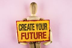 Conceptual hand writing showing Create Your Future. Business photo text career goals Targets improvement set plans learning writte. N Sticky note paper Wooden Stock Images