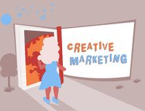 Conceptual hand writing showing Creative Marketing. Business photo text Campaigning to meet the advertising requirements.  royalty free illustration