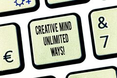 Conceptual hand writing showing Creative Mind Unlimited Ways. Business photo text Creativity brings lots of. Possibilities Keyboard key Intention to create royalty free stock photos
