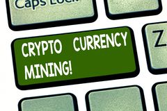 Conceptual hand writing showing Crypto Currency Mining. Business photo showcasing recording transaction record in the. Blockchain system Keyboard key Intention vector illustration