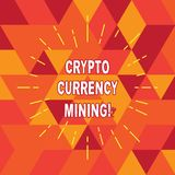 Conceptual hand writing showing Crypto Currency Mining. Business photo text recording transaction record in the blockchain system. Thin Beam Lines Spreading out royalty free illustration
