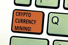 Conceptual hand writing showing Crypto Currency Mining. Business photo text recording transaction record in the. Blockchain system Keyboard key Intention to stock photography