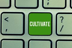 Conceptual hand writing showing Cultivate. Business photo showcasing prepare and use land for crops gardening grow or. Maintain Keyboard Intention to create royalty free stock image