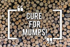 Conceptual hand writing showing Cure For Mumps. Business photo text Medical treatment for contagious infectious disease. Wooden background vintage wood wild stock image
