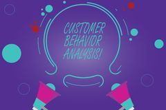 Conceptual hand writing showing Customer Behavior Analysis. Business photo showcasing buying behaviour of consumers who. Use goods Two Megaphone and Circular royalty free illustration