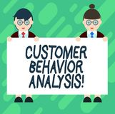 Conceptual hand writing showing Customer Behavior Analysis. Business photo showcasing buying behaviour of consumers who. Use goods Male and Female in Uniform stock illustration