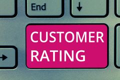 Conceptual hand writing showing Customer Rating. Business photo showcasing Each point of the customers enhances the experience.  stock photos