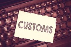 Conceptual hand writing showing Customs. Business photo text Official department administers collects duties on imported royalty free stock image