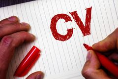 Conceptual hand writing showing Cv. Business photo showcasing Curriculum Vitae Resume Infographics Job Searching Employee Recruitm. Ent Man hold holding marker stock photo