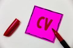 Conceptual hand writing showing Cv. Business photo showcasing Curriculum Vitae Resume Infographics Job Searching Employee Recruitm. Ent Pink note open marker Royalty Free Stock Images