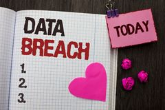 Conceptual hand writing showing Data Breach. Business photo showcasing Stolen Cybercrime Information Hacking Security Malicious Cr. Ack written Notebook Book Royalty Free Stock Image