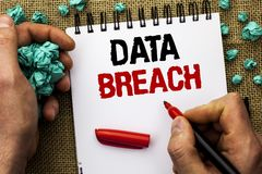 Conceptual hand writing showing Data Breach. Business photo text Stolen Cybercrime Information Hacking Security Malicious Crack wr. Itten by Man Holding Marker Stock Image