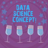 Conceptual hand writing showing Data Science Concept. Business photo text extraction of valuable knowledge from raw data Filled. Cocktail Wine with Scattered royalty free illustration