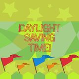 Conceptual hand writing showing Daylight Saving Time. Business photo text advancing clocks during summer to save electricity. Conceptual hand writing showing royalty free illustration