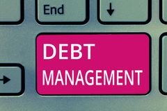 Conceptual hand writing showing Debt Management. Business photo showcasing The formal agreement between a debtor and a royalty free stock photography