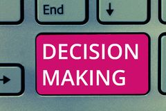 Conceptual hand writing showing Decision Making. Business photo showcasing The act of deciding between two or more royalty free stock photos