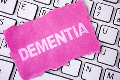 Conceptual hand writing showing Dementia. Business photo showcasing Long term memory loss sign and symptoms made me retire sooner. Written Tear Sticky note Royalty Free Stock Photo