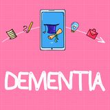 Conceptual hand writing showing Dementia. Business photo text Impairment in memory Loss of cognitive functioning Brain disease.  stock images