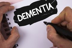Conceptual hand writing showing Dementia. Business photo text Long term memory loss sign and symptoms made me retire sooner writte. N by Man Painted Notepad on Stock Photos